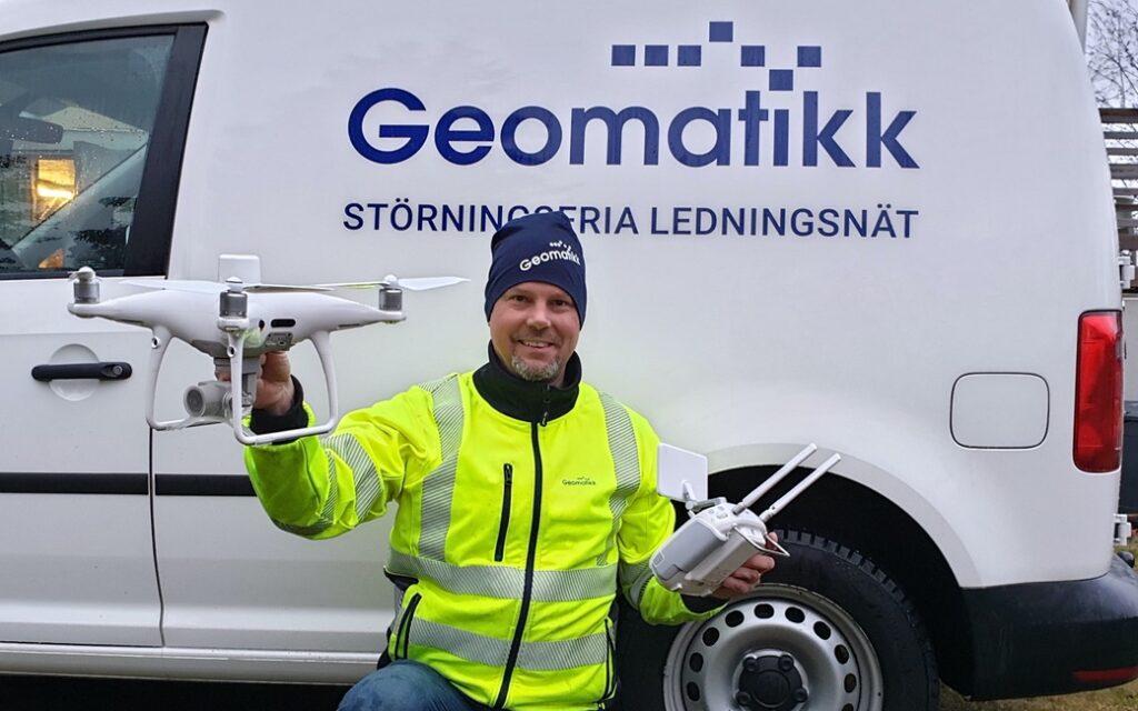 Geomatikk använder drönare för att kunna leverera en komplett rapport över ledningsnäten.